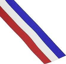Offray Woven Tri-Stripe Red/White/Royal 3/8