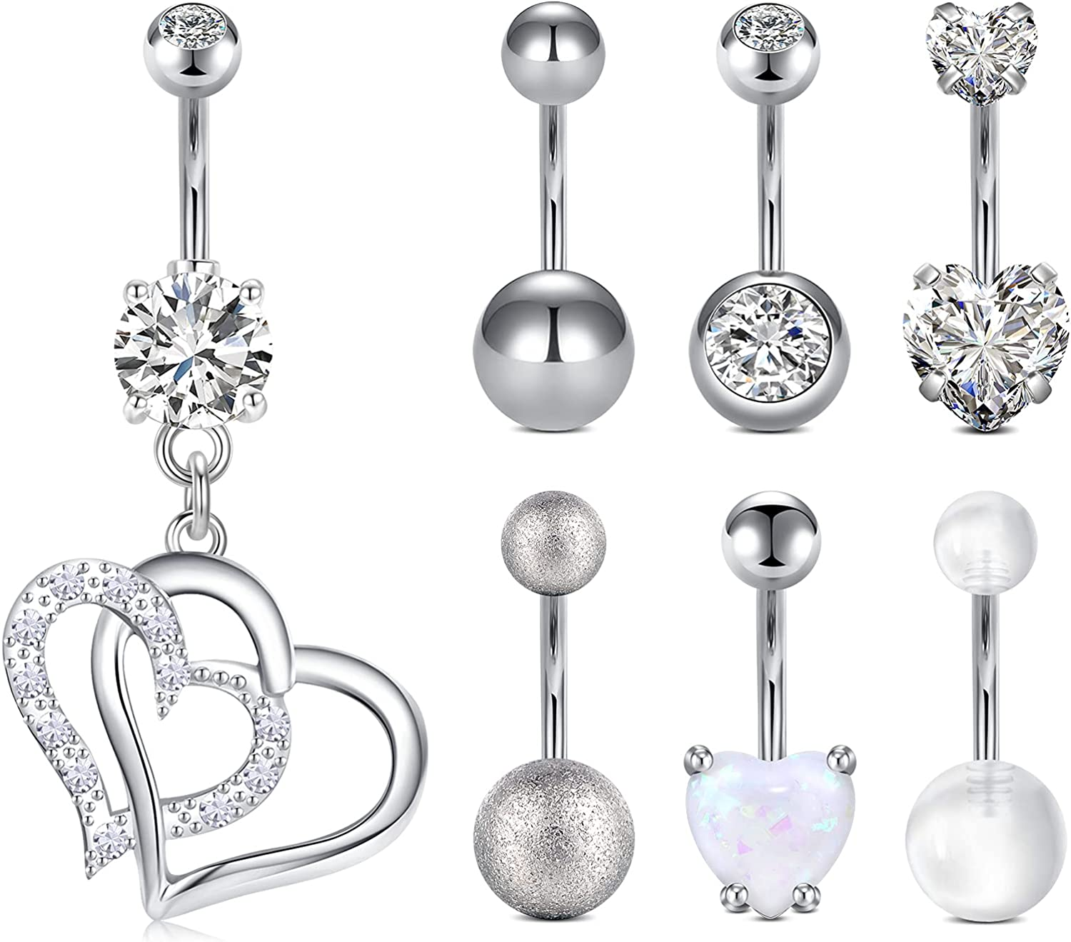 NIUSIMAN 14G Belly Button Rings for Women Dangle Heart Shaped Belly Bar Stainless Steel Curved Barbell Navel Ring Body Jewelry Piercing 7 Pcs