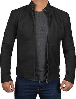 Decrum Black Suede James Bond Leather Moto Jacket Adult | XS