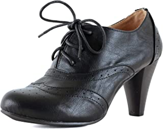 Women's Mary Jane Oxford Kitten Heel Pump - Wing Tip Comfortable Retro Pumps
