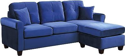 Lexicon 83-Inch Velvet Reversible Sofa Chaise, Blue