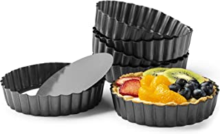 "Gourmia GPA9375 Mini Tart Pans with Removable Bottom - 6 Pack, 5"" Diameter, 1"" Depth – Non Stick Carbon Steel - Miniature Molds For Pies, Cheese Cakes, Desserts, Quiche pan and More"