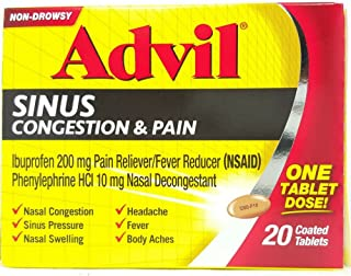 Advil Sinus Congestion & Pain, Coated Tablets 20 ea ( Pack of 2)