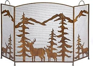 Pantalla Chimenea Rustieke vouwbare ijzeren open haard brandwerende maas, 3 panelen vonken bescherming met uitgesneden sil...