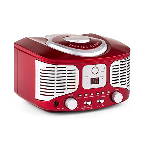auna - RCD320 , Radio CD , Equipo estéreo , Radio de Cocina , Retro , Nostálgico , Reproductor de CD , FM , AUX , Pantalla Digital , Programación de reproducción , Cable de Antena , Portátil , Rojo