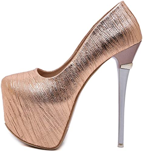YAN YAN YAN damen es Ultra High Heels 2019 New PU Stiletto Schuhe Fashion Closed Toe Pumps Dress Sheos Hochzeit Party & Evening,Gold,37  zum niedrigsten Preis