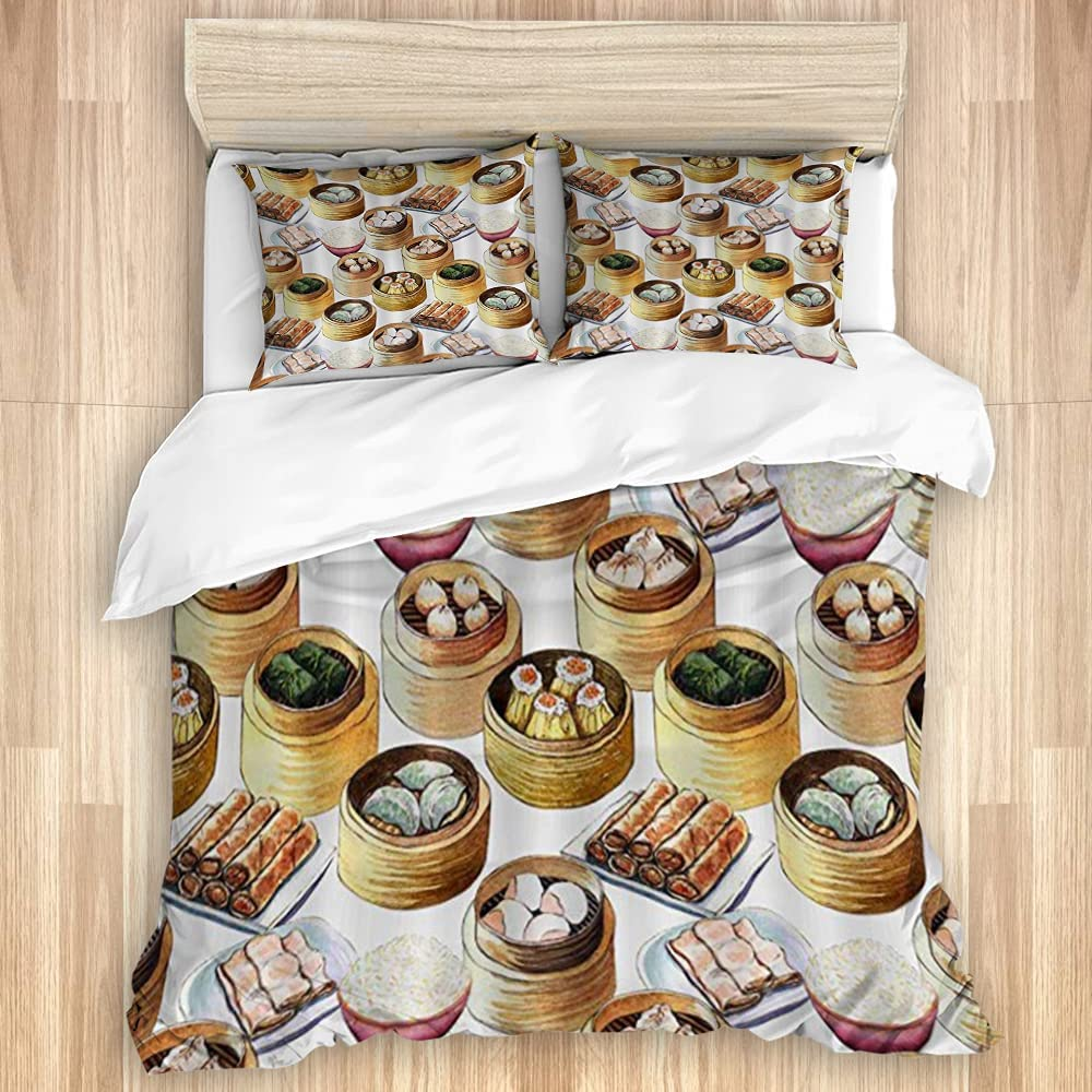 EILANNA Louisville-Jefferson County Mall Washed Duvet Cover Set Dim free Food Chinese Watercolor Patte