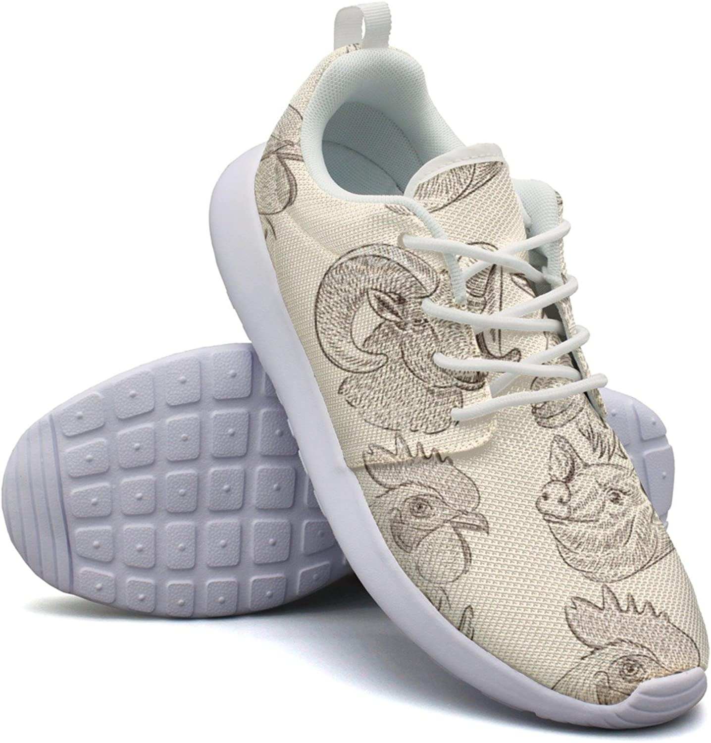 Farm Animals Pattern Cow Goat Pig Horse Rooster Sheep Women Cool Design Running shoes Cool colorful