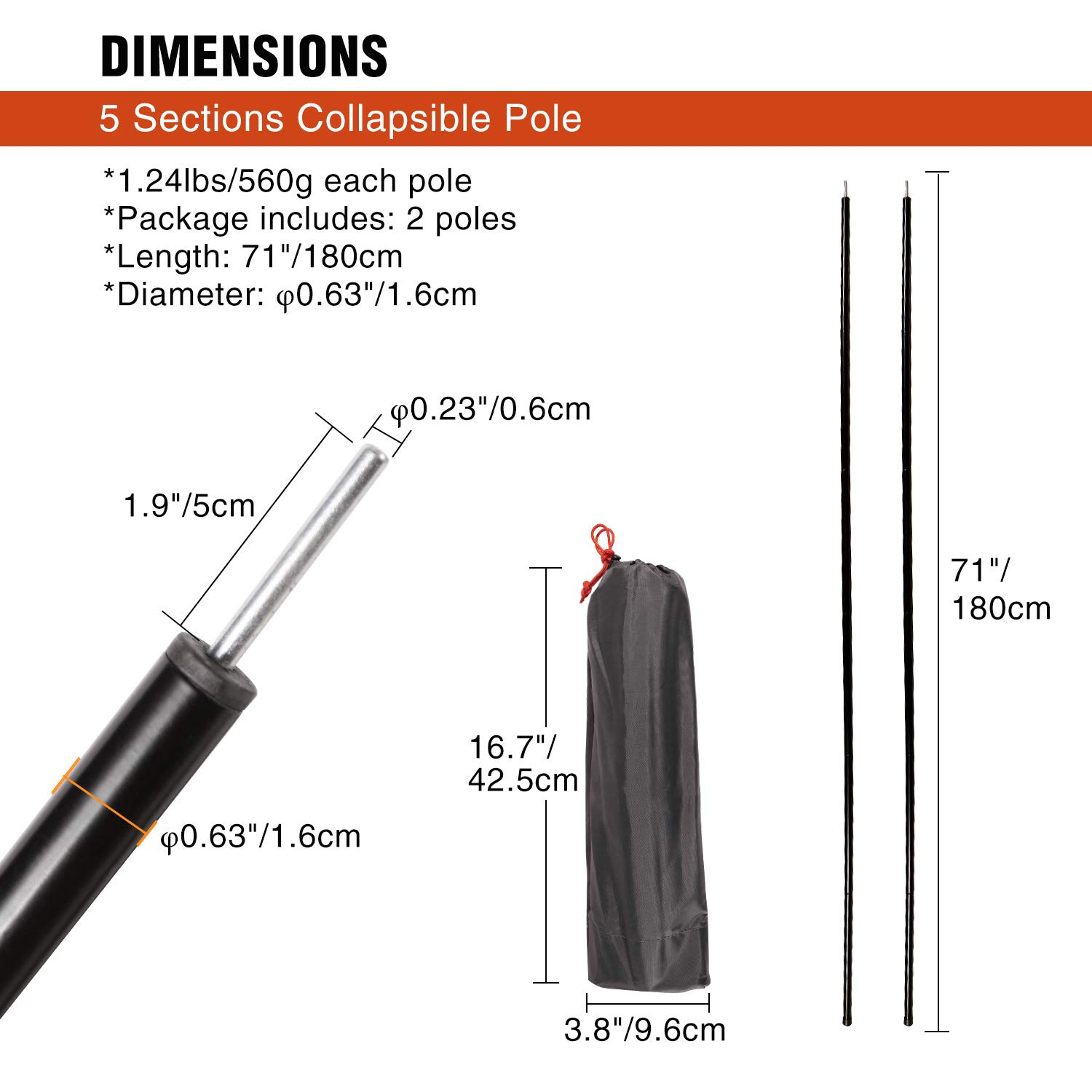 Backpacking Shelters and Awnings HIKEMAN Tarp Poles and Aluminum alloy tent poles- multifunctional,rust-proof,Durable and Lightweight-Outdoor Camping Tent Pole for Camping