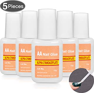 Adhesive False Nail Glue Brush-On Nail Glue Quick Nail Glue for Nail Make Up Supplies (5 Packs)
