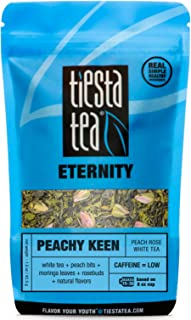 Tiesta Tea Peachy Keen, Peach Rose White Tea, 30 Servings, 1.5 Ounce Pouch, Low Caffeine, Loose Leaf White Tea Eternity Blend, Non-GMO