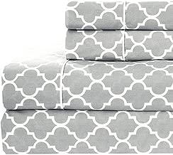 Meridian Gray and White Brushed Sateen Cotton Sheets, 4pc Adjustable Top Split King, Bed Sheet Set 100-Percent Cotton, Superior Sateen Weave, Crispy Soft, Deep Pocket, Modern Reactive Print