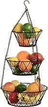 Blue Donuts Heavy Duty Bronze 3-Tier Round Iron Hanging Basket - 25in Long/in X Pattern