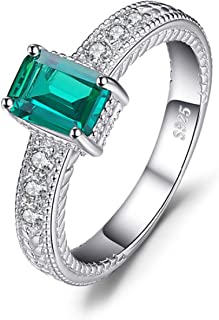 Intriguing 0.9ct Synthetic Emerald Ring Made with 925 Sterling Silver