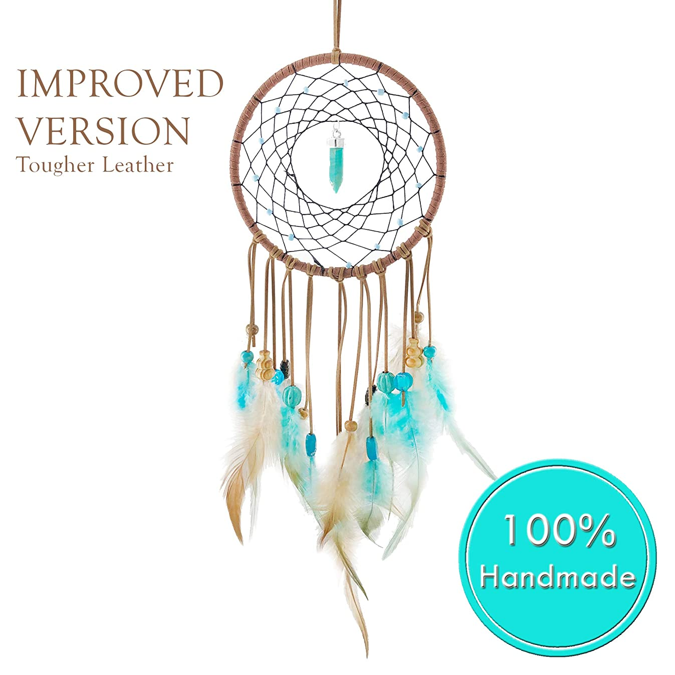 Dream Catchers for Bedroom Decor – Blue Stone Native American Handmade Home Wall Hanging Decoration Ornament Craft Gifts for Parents & Kids in Brown Purple White Multi color Suit Balcony & Car Charm