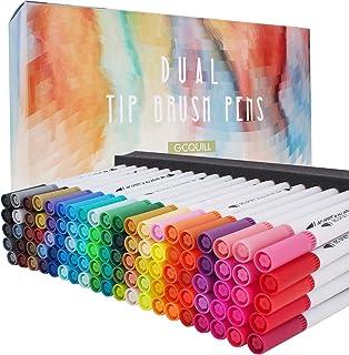 100 Couleurs double pointe fine aquarelle Stylos de coloriage, Stylos à brosse à double pointe Fine tip 0.4 Stylos et Marq...