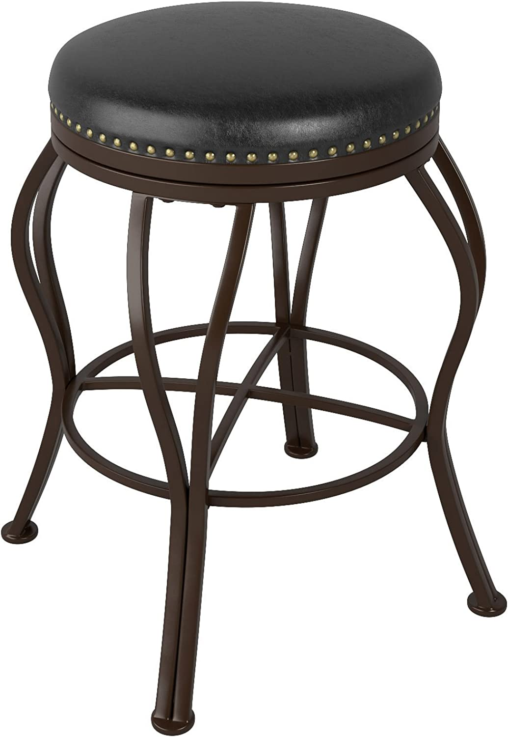 CorLiving DJS-124-B Jericho Metal Counter Height Barstool with Dark Brown Bonded Leather Seat