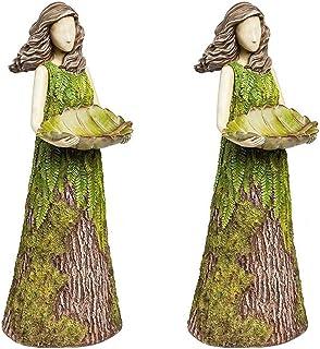 Sherwood Fern Fairy Statuary Hummingbird Feeder, Garden Statue Decorations, Spring Lawn Ornaments, 2 In 1 Hummingbird Feed...