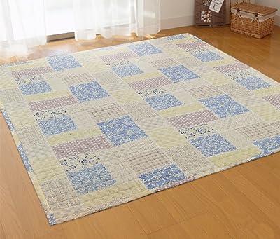 Arie(アーリエ) 赤ちゃんやペットに最適 洗える 綿100%ラグ プッチーニ2 190×190cm 約2畳用 ブルー