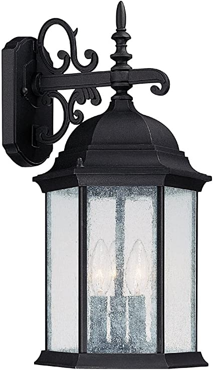 Capital Lighting 9834bk Outdoor Wall Lantern With Seeded Glass Shades Black Finish Wall Porch Lights