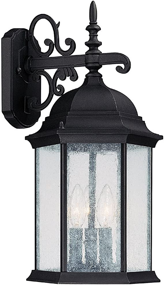 Capital Lighting 9834bk Main Street 3 Light Outdoor Wall Lantern Black With Seeded Glass Wall Porch Lights Amazon Com