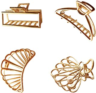 YMAISS 4 Pcs Large Metal Claw Hair Clips Pearl Hollow Jaw Barrettes Hair Catch Barrette Jaw Clamp Hair Accessory Non-Slip ...