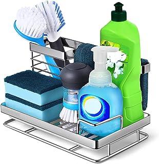 Kitchen Sink Caddy Sponge Holder: Rust Proof Kitchen Sink Organizer for Dish Rag Soap Brush - Sponge Holder with Drain Tra...