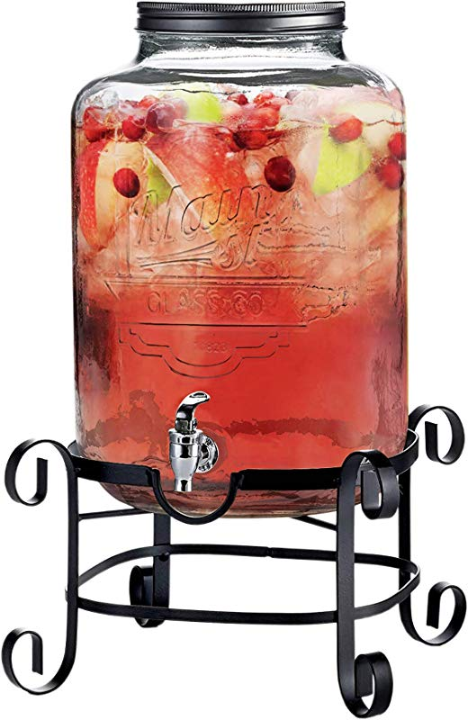 Style Setter Beverage Dispenser Cold Drink Dispenser W 3 Gallon Capacity Glass Jug Metal Stand Leak Proof Acrylic Spigot Great For Parties Weddings More