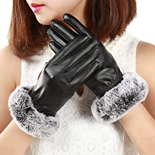 SED Gloves - Outdoor Sports Glove, Ladies Gloves Woman Warm Winter Elegant Simple Ladies Style Gloves Thickening Men Gloves of Clear Driving Non-Slip Soft Mittens,Black,One Size