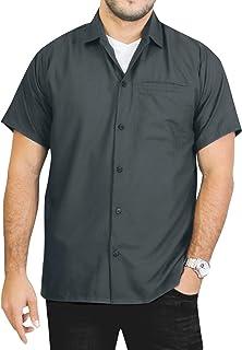 LA LEELA Men's Beach Short Sleeve Button Down Casual Hawaiian Shirt Solid Plain