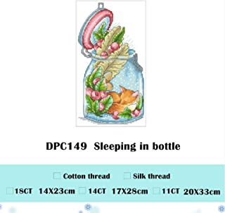 Sleeping in Teacup Cross Stitch Package Cartoon Mouse Fox 18ct 14ct 11ct Cloth Cotton Thread Embroidery DIY Handmade Needlework,Yellow,Cotton Thread,11ct unprint Canvas