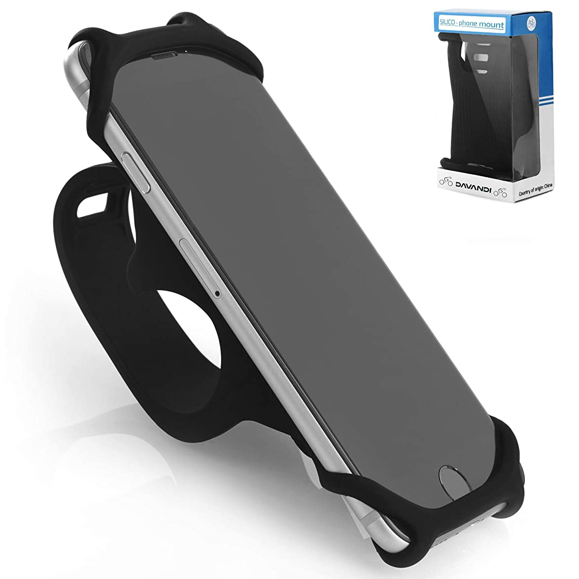 Premium Bike Phone Mount Made of Durable Non-Slip Silicone. Mobile Cellphone Holder/Universal Cradle for All Bicycle Handlebars and 99% of Smartphones: iPhone 8, 7, 6, 5, Samsung Series and More