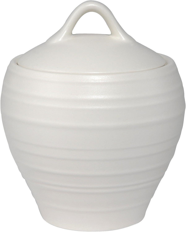 Mikasa Swirl White Covered Sugar Bowl, White