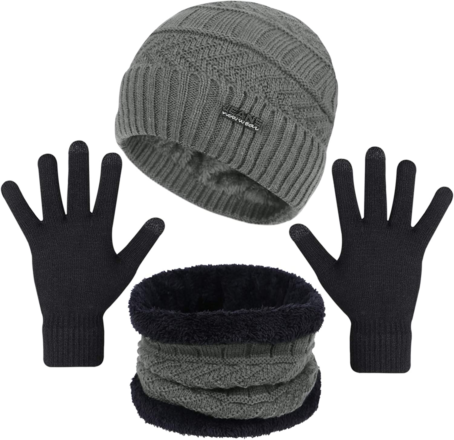 3-Pieces Winter Max 47% OFF Beanie Hats Scarf Finally resale start and f Set Screen Touch Gloves