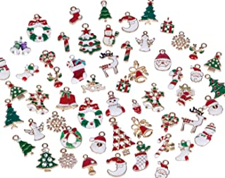 Hibery 57 Pcs Christmas Charms, Snowflake Charms Pendant Christmas Beads for Jewelry Making Necklace, Bracelet, Earring and More