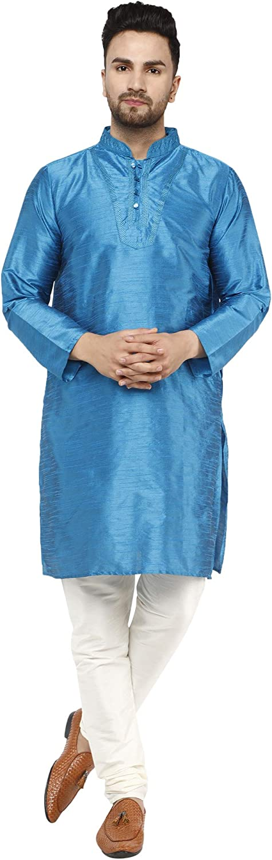 SKAVIJ Men's Tunic Kurta Pyjama Traditional Wedding Party Ethnic Suit Dress Set