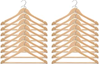IKEA Bumerang 17 Width Wooden Metal Hook Top Hanger with Notches/Perfect for Pants Skirt Coat Suit (16 Count, Natural)