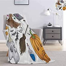 Luoiaax Halloween Soft Throw Blanket for Bed Couch Magic Spells Witch Craft Objects Doodle Style Illustration Grunge Design Skull Soft Throw Blankets for Adults W54 x L72 Inch Multicolor