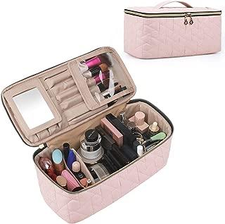 BAGSMART Makeup Bag Cosmetic Bag Large Toiletry Bag Travel Bag Case Organizer for Women, Soft Light Pink