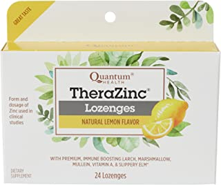 Quantum Health TheraZinc Lemon Lozenges, Made with Zinc Gluconate for Immune Support, 24 Count