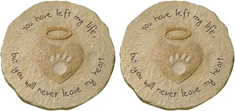 """Grasslands Road Beloved Set of 2""""You will never leave my heart"""" Paw Print with Halo Pet Remembrance Stepping Stone Plaque"""