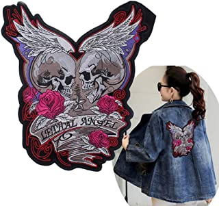 Buding3D Parches Termoadhesivos Grandes Calavera Rosa Parches Decorativos Bordado Apliques Etiqueta De Tela Para Ropa Jeans Ropa Chaquetas Bolsas