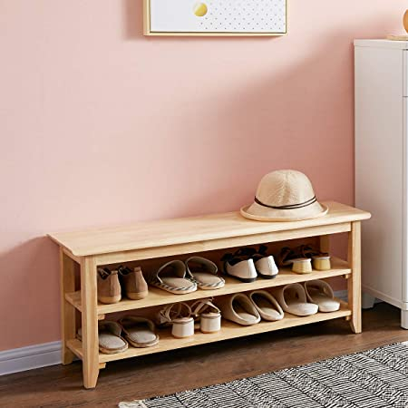 """ACRO Storage Bench Wooden Shoe Bench Simple Style Wood Entryway Bench Shoe Rack (Natural,39.4"""")"""