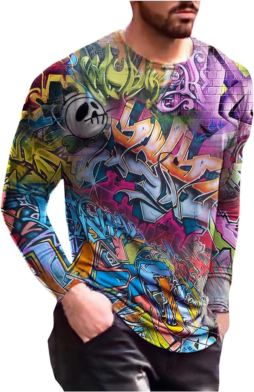 Aayomet Men's T-Shirts Summer Long Sleeve Crew Neck Shirts Lightweight Pullover 3D Printed Pattern Workout Tops