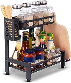 Organisateur de support à épices, étagère de rangement de comptoir de cuisine avec baguettes à couverts et étagère de rang...