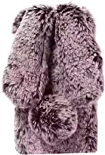 Gostyle Plush Rabbit Case for iPhone 5S/5,iPhone SE Case, Cute Furry Bunny Ears Hairball Winter Soft Warm Fluffy Case Faux Fur Shockproof Bumper Cover with Glitter Diamond for iPhone 5S/5/SE-Brown