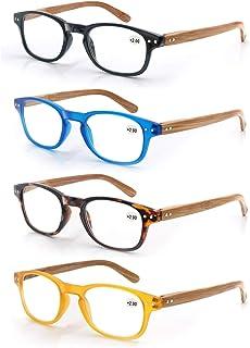 comprar comparacion MODFANS Un pack de 4 gafas de lectura 4.0 para Hombres/Mujeres - Lente Clara,Vision Clara,Efecto Madera - Moda,Practicas,L...