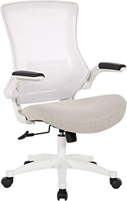 Office Star White Screen Back Manager's Office Chair with Padded Flip Arms with Angled Chrome Base, Linen Stone Fabric
