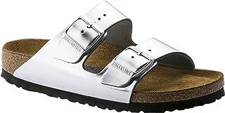 Birkenstock Arizona Soft Footbed Metallic Silver Leather Unisex Sandals 36 (US Women's 5-5.5)