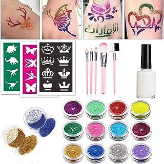 Glitter Tattoo Kits Temporary Tattoos Body Painting Art Flash Tattoo 12 Color Bottles of Glitter Powder 24 Special Design Tattoo Stencils 1 Glue Applicator 5 Painting Brushes, DIY Tattoos Kit for Kids
